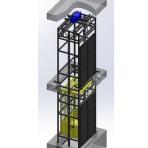 Грузовой подъемник шахтного типа в металлической шахте